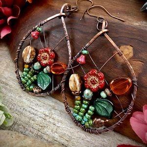 Czech glass fall garden copper hoop earrings